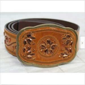 LW Brown Tan Leather Belt with Jewel Embellishment